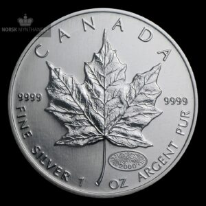 2000 Kanada 1 oz Sølv Maple Leaf Millennium Privy