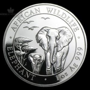2015 Somalia 1 oz Sølv African Elephant BU