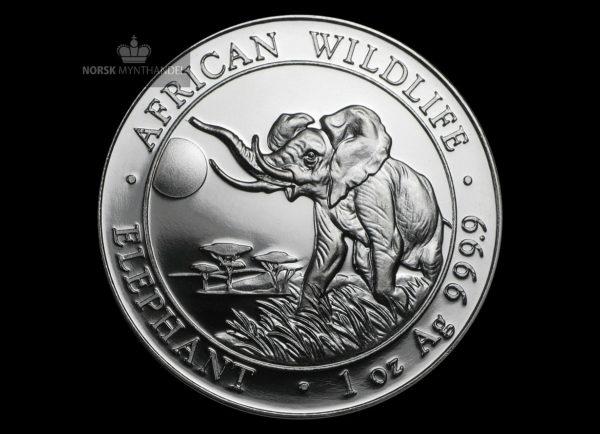 2016 Somalia 1 oz Sølv African Elephant BU