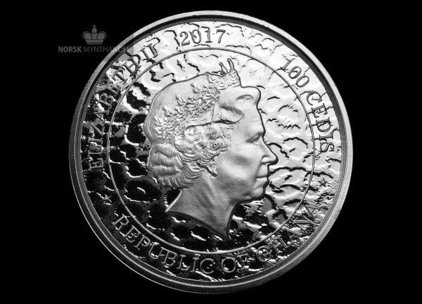 2017 Republic of Ghana 1 oz Sølvmynt 100 Cedi African Leopard