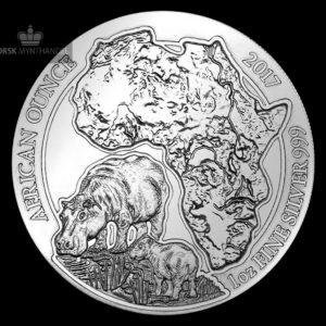 2017 Rwanda 1 oz Sølv African Hippo
