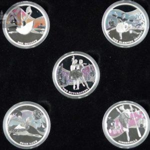 """2010 Tuvalu 1$ Sølvmyntsett """"Famous Ballets"""""""