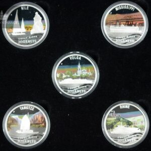 "2010 Tuvalu 1$ Sølvmyntsett ""River Journeys"""