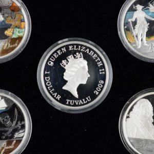 """2009 Tuvalu 1$ Sølvmyntsett """"The golden age of Piracy"""""""