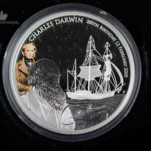 "2009 Tuvalu 1 oz Sølv ""Charles Darwin 200th Anniversary of birth"""
