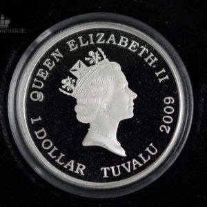 "2009 Tuvalu 1 oz Sølv ""Charles Darwin 200th Anniversary of birth"""
