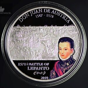 "2010 Cook Islands 5$ Sølv Lepanto ""Great Commanders & Battles"""