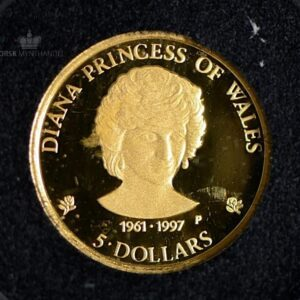 1997 Cook Islands 1/25 oz Gullmynt Diana Princess of Wales