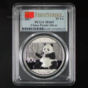 "2017 Kina 30 Gram Sølv Panda PCGS MS69 ""First Strike"""