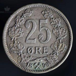 1896 25 Øre Kv 1/1+