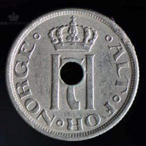 1922 25 Øre m/hull Kv 1/1+