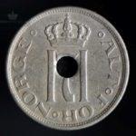 1923 25 Øre m/hull Kv 1