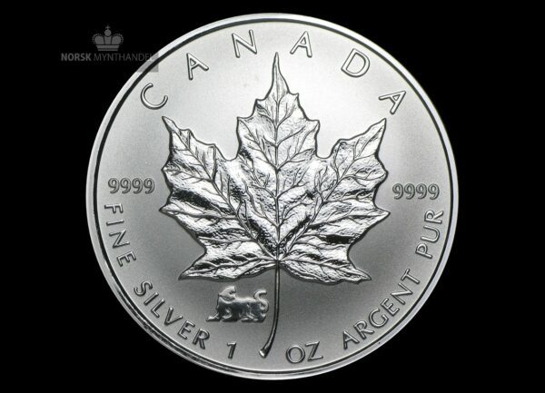 1998 Kanada 1 oz Sølv Maple Leaf Lunar Tiger Privy BU