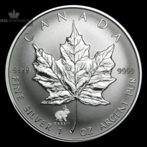 1999 Kanada 1 oz Sølv Maple Leaf Lunar Rabbit Privy