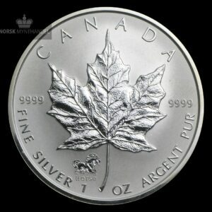 2002 Kanada 1 oz Sølv Maple Leaf Lunar Horse Privy
