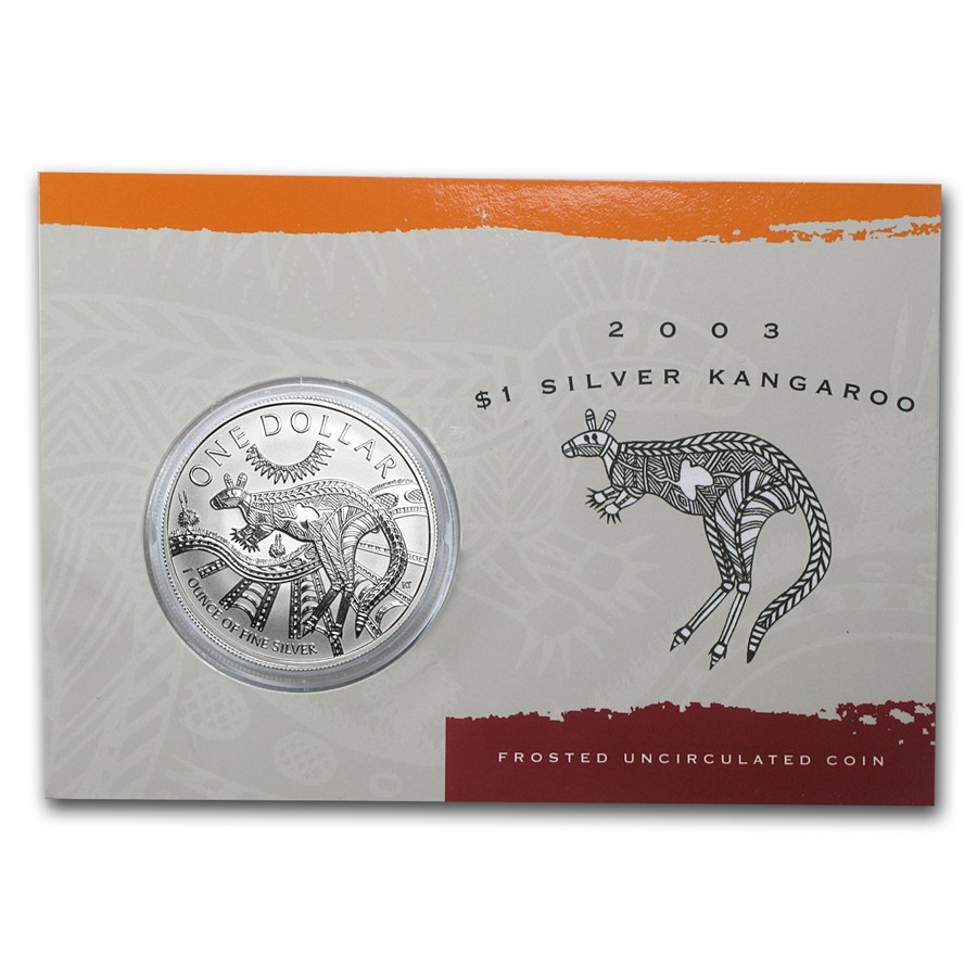 2003 Australia 1 oz Sølv Kangaroo BU (Display kort)