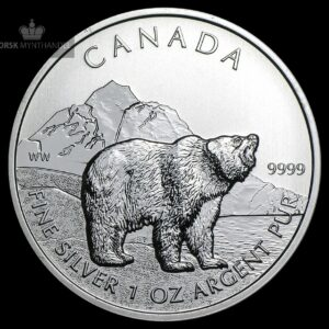 2011 Kanada 1 oz Sølv Wildlife Series Grizzly BU