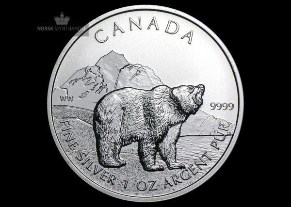 2011 Kanada 1 oz Sølv Wildlife Series Grizzly BU
