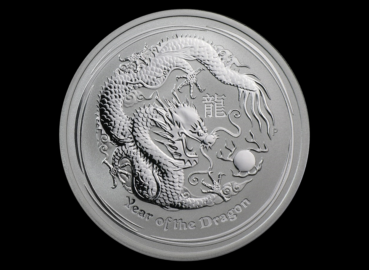 2012 Australia 1/2 oz Lunar Sølv Year of the Dragon BU