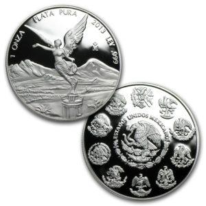 2013 Mexico 5-Mynt 1.9 oz Sølv Libertad Proof Sett