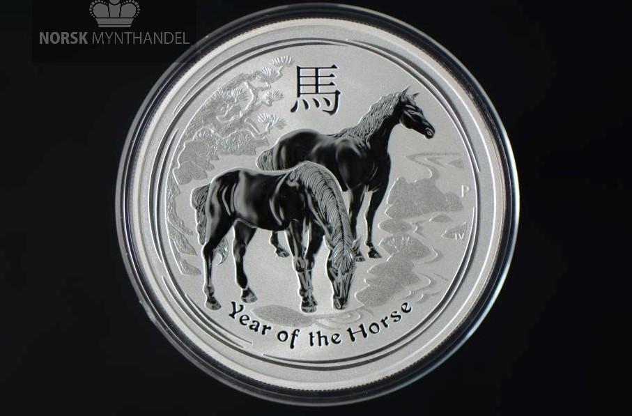 2014 Australia 1 oz Sølv Lunar Year of the Horse BU
