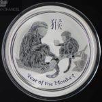 2016 Australia 1 oz Sølv Lunar Year of the Monkey BU
