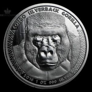 2016 Kongo 1 oz Sølvmynt Silverback Gorilla BU