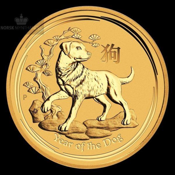 2018 Australia 1/4 oz Gullmynt Lunar Serie 2 Year of the Dog BU