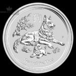 2018 Australia 1 oz Sølv Lunar Year of the Dog BU