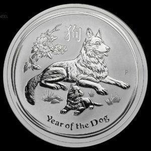 2018 Australia 2 oz Sølv Lunar Year of the Dog BU