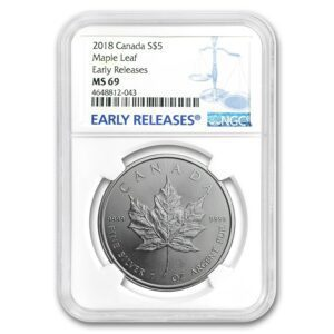"2018 Kanada 1 oz Sølv Maple Leaf NGC MS69 ""Early Releases"""