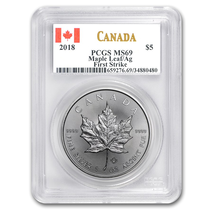 "2018 Kanada 1 oz Sølv Maple Leaf PCGS MS69 ""First Strike"""