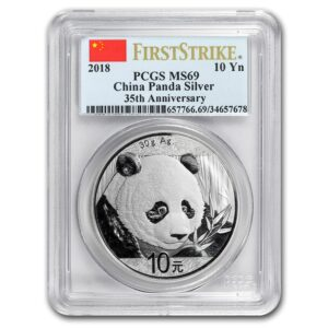 "2018 Kina 30 Gram Sølv Panda PCGS MS69 ""First Strike Flag Label"""