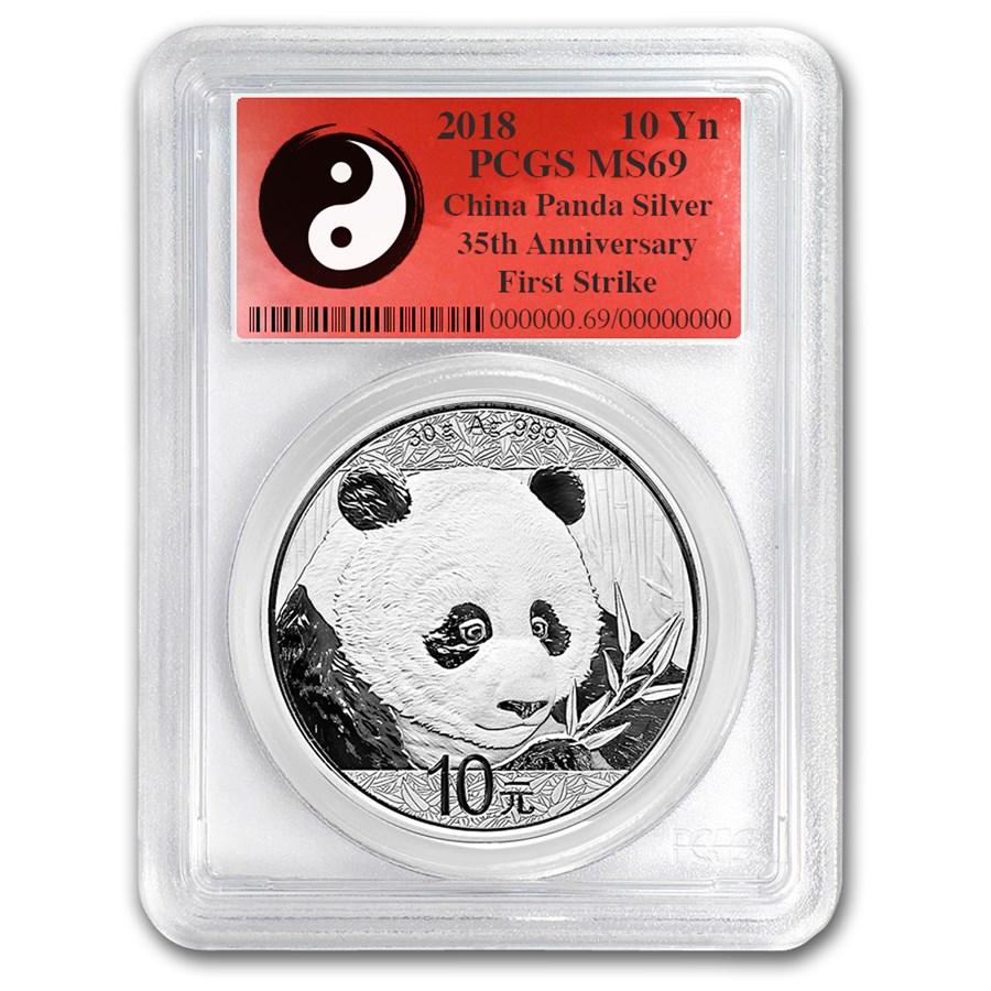 "2018 Kina 30 Gram Sølv Panda PCGS MS69 ""FS Yin-Yang"""