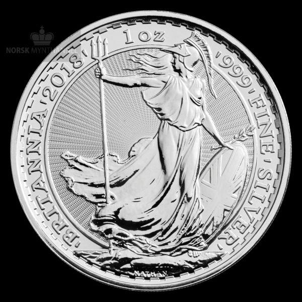 2018 Storbritannia 1 oz Sølv Britannia BU