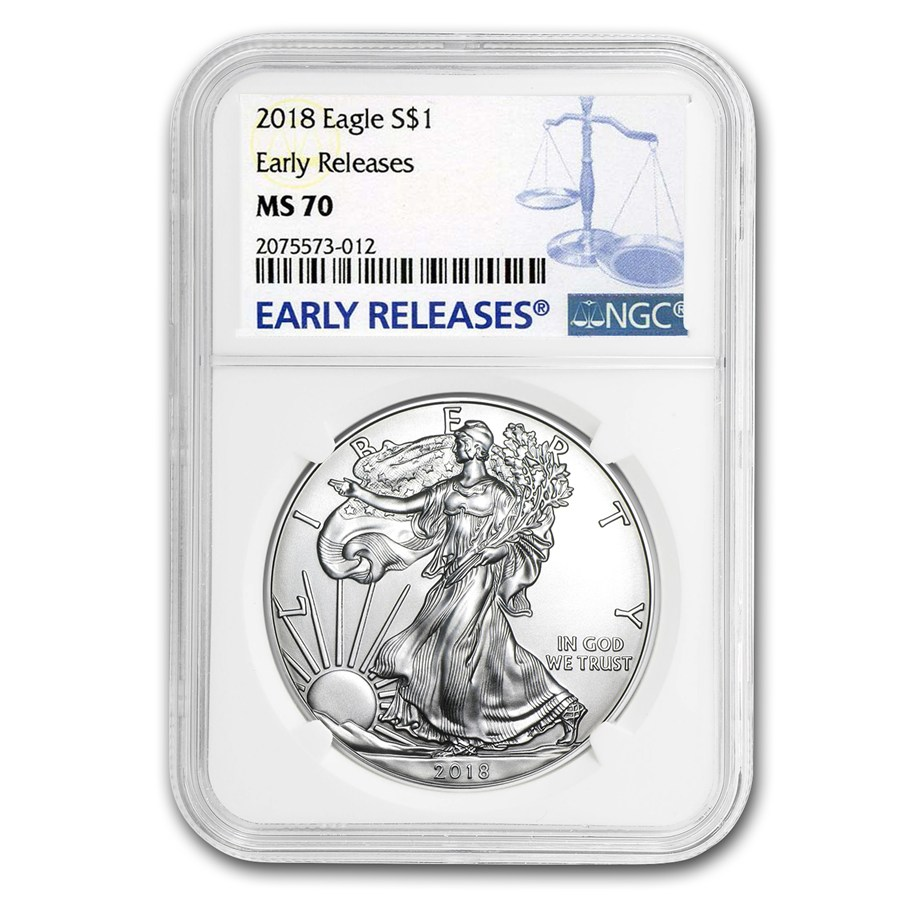 "2018 Silver American Eagle 1 oz Sølv NGC MS70 ""Early Releases"""