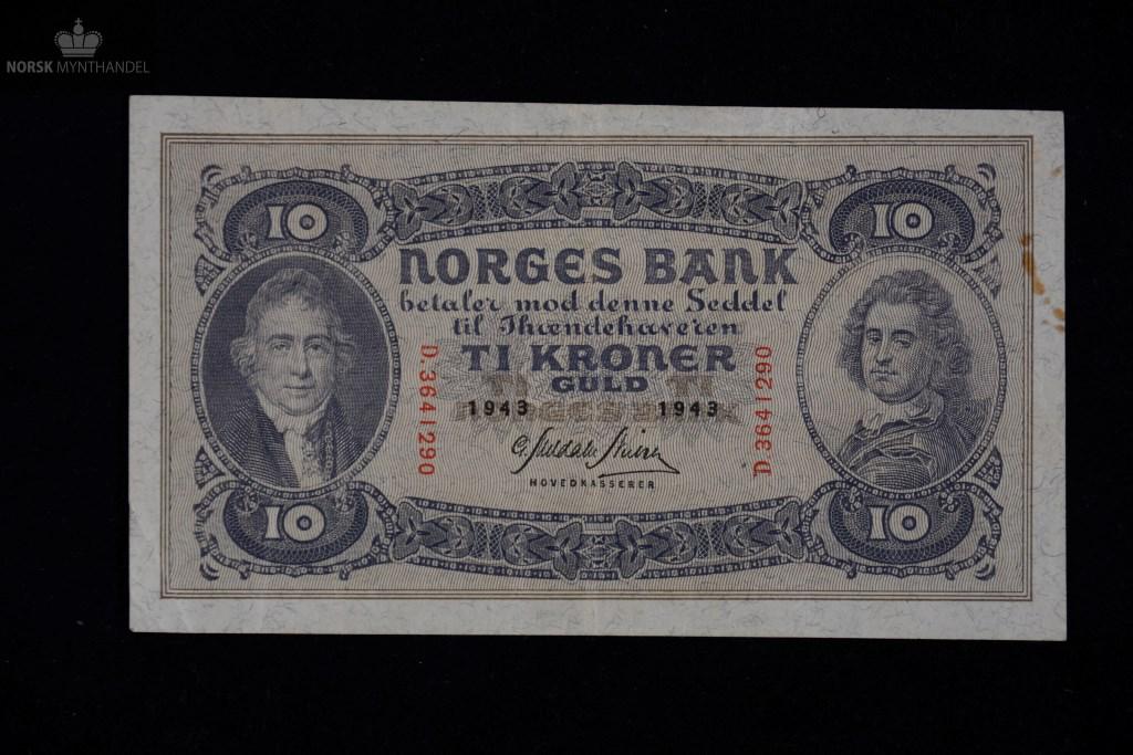 10 KRONER 1943 D SERIE