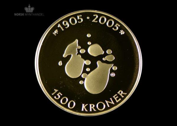 2004 Hundreårsmynten 1500 Kroner i Gull Nr. 2 Proof