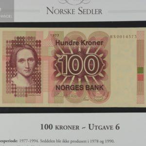 100 Kroner 1977 Erstatningsseddel H Serie