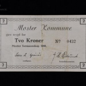 2 Kroner 1940 Moster Kommune