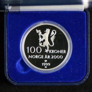1999 100 Kroner Tusenårsmynten i sølv