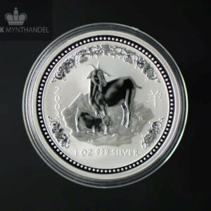 "2003 Australia 1 oz Sølv Lunar ""Year of the Goat"" BU"