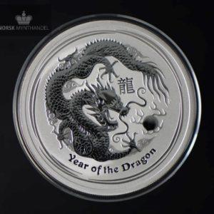 2012 Australia 2 oz Sølv Lunar Year of the Dragon BU