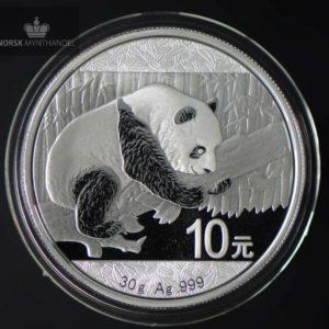 2016 Kina 10 Yuan Sølv Panda 30 Gram