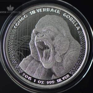 2015 Kongo 1 oz Sølv Silverback Gorilla Prooflike