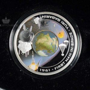 """2008 1 oz Sølvmynt Orbit & Beyond """"First Man In Space"""""""