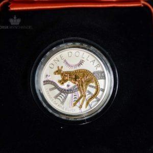 2003 Australia 1 oz Sølv Kangaroo Gull Forgylt