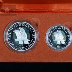 2005 Australia 2 & 1 oz Sølv Kookaburra Proofsett