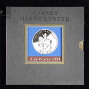 """1997 5 Kroner """"Posten 350 år"""" M/Pappetui"""
