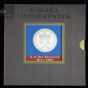 "1986 5 Kroner ""Den Kongelige Mynt"" M/Pappetui"